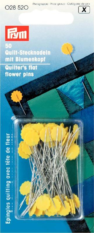 Quilter's Flat Flower Pins 0.60 X 50mm Silver Col / Yellow