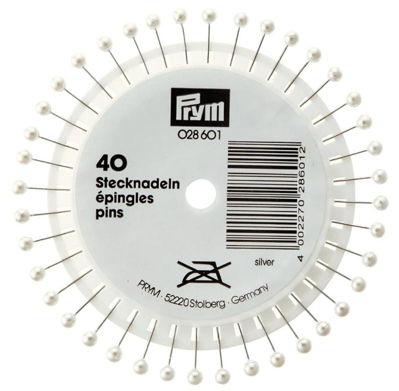 Pearl-Headed Pins 0.58 X 40mm Silver Col