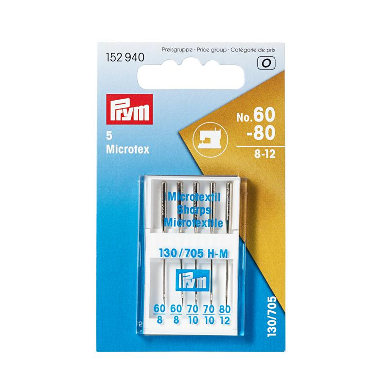 Sewing Machine Needles Sys. 130/705 Microtex - Sizes 60-80 (8-14)