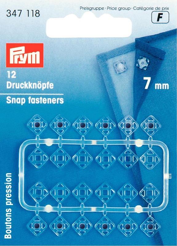 Sew-On Snap Fasteners Plastic Square 7mm Transparent