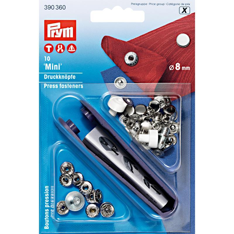 *Non-Sew Fasteners Mini Brass 8mm Silver Col