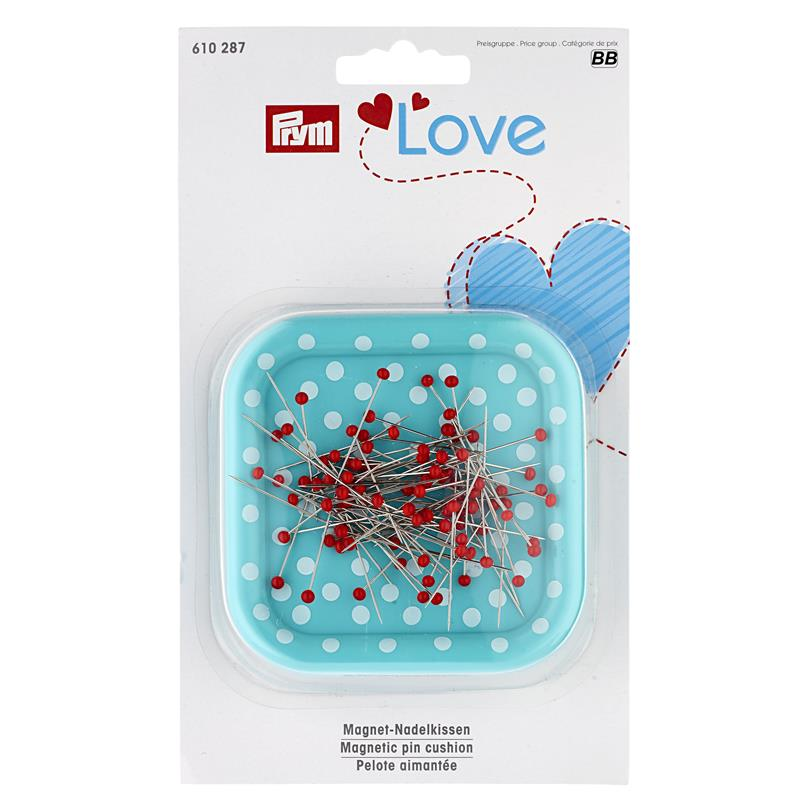 Prym Love Magnetic Pin Cushion Including 9g Glass Headed Pins - Mint