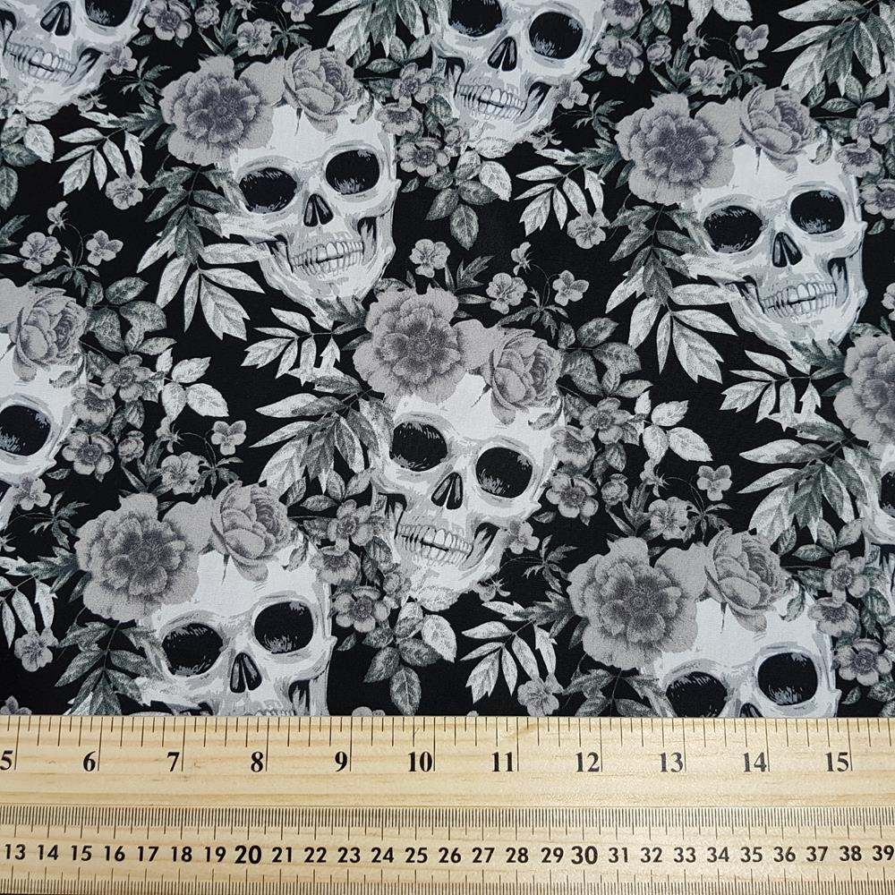 Monochrome Skulls & Roses - Cotton Poplin - Rose & Hubble