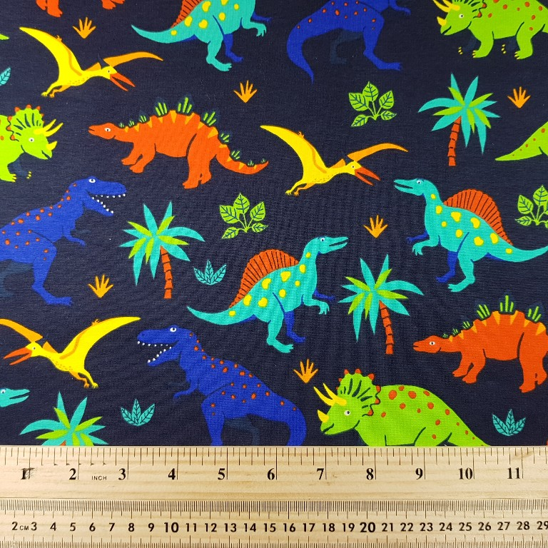 Dinosaurs - Non-Brushed Sweatshirting - QjuTie Collection