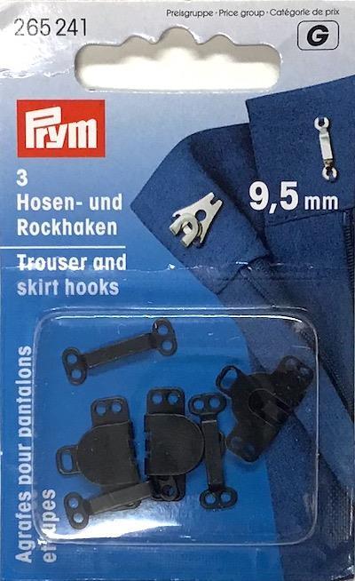 Trouser And Skirt Hooks/Bars Silver Colour or Black 9.5mm