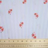 Blue Stripe Floral - Polycotton