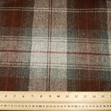 Grey/Maroon Plaid Wool Fabric