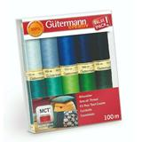 Gutermann Sew All Thread Set 10 x 100m Blues/Greens