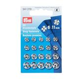 Sew-On Snap Fasteners Brass - Silver or Black Colour
